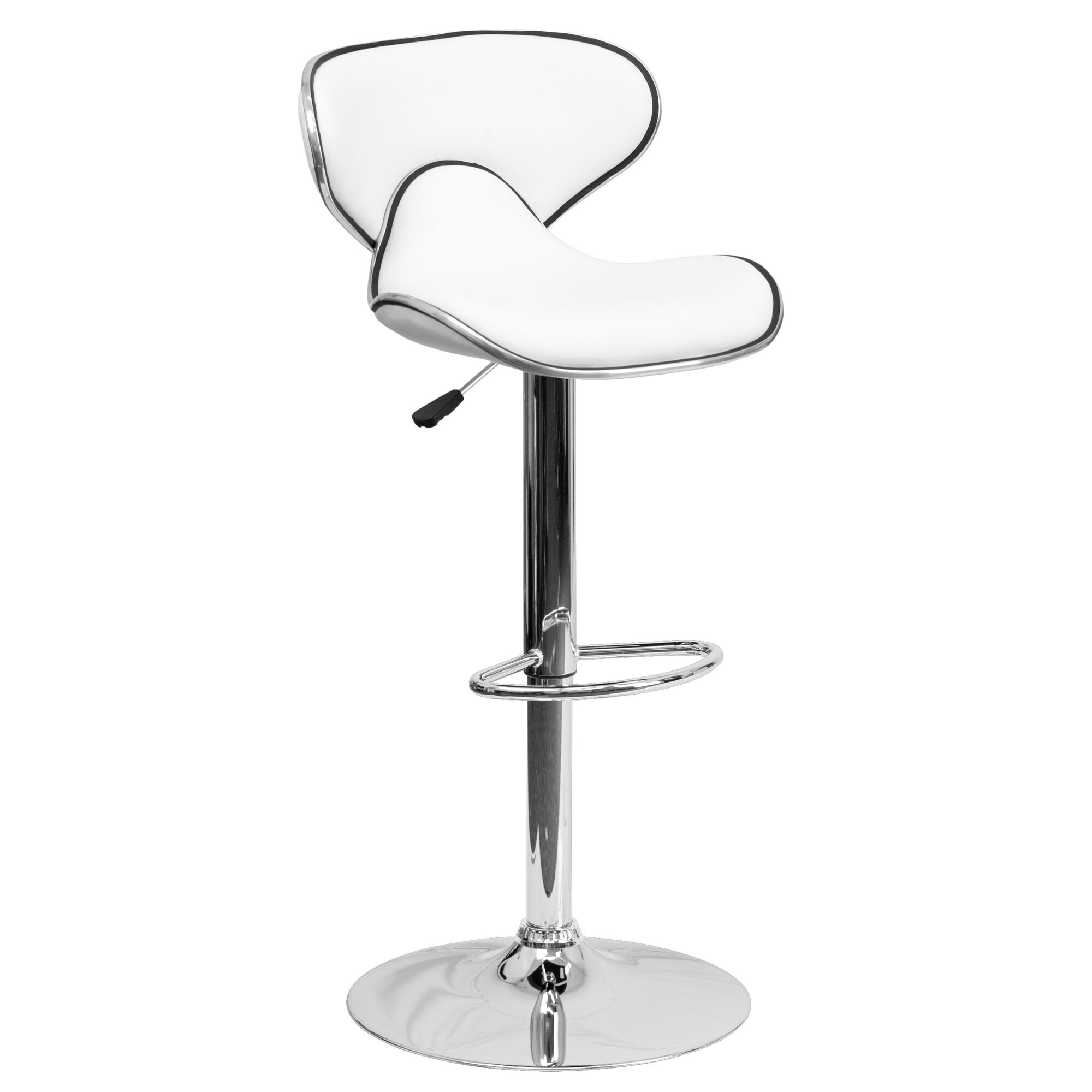 Awesome Contemporary Cozy Mid Back White Vinyl Adjustable Height Barstool With Chrome Base Camellatalisay Diy Chair Ideas Camellatalisaycom