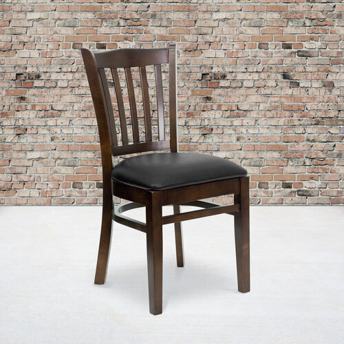 Our Walnut Finished Vertical Slat Back Wooden Restaurant Chair with Black Vinyl Seat is on sale now.