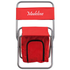 Embroidered Folding Camping Chair with Insulated Storage in Red