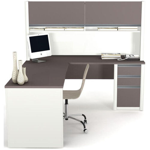 Our Connexion L-Shaped Desk and Hutch Workstation with Wire Management - Sandstone and Slate is on sale now.