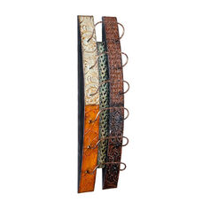 Adriano Hand Crafted Wall Mount Multi Earth Tone Metal Wine Storage with 6 Holders