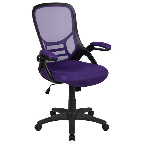 Our High Back Purple Mesh Ergonomic Swivel Office Chair with Black Frame and Flip-up Arms is on sale now.