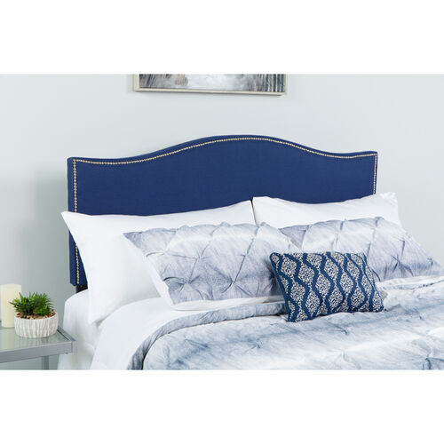 Lexington Upholstered Queen Size Headboard with Accent Nail Trim in Navy Fabric