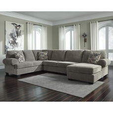 Signature Design by Ashley Jinllingsly 3-Piece LAF Sofa Sectional in Gray Corduroy