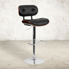 Walnut Bentwood Adjustable Height Barstool with Button Tufted Black Vinyl Seat