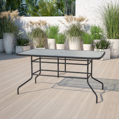 """31.5"""" x 55"""" Rectangular Tempered Glass Metal Table with Umbrella Hole"""