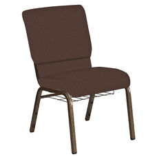 Embroidered 18.5''W Church Chair in Bonaire Cocoa Fabric with Book Rack - Gold Vein Frame