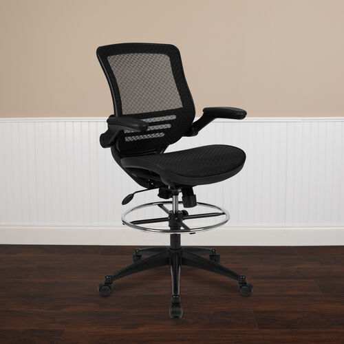 Our Mid-Back Transparent Black Mesh Drafting Chair with Black Frame and Flip-Up Arms is on sale now.