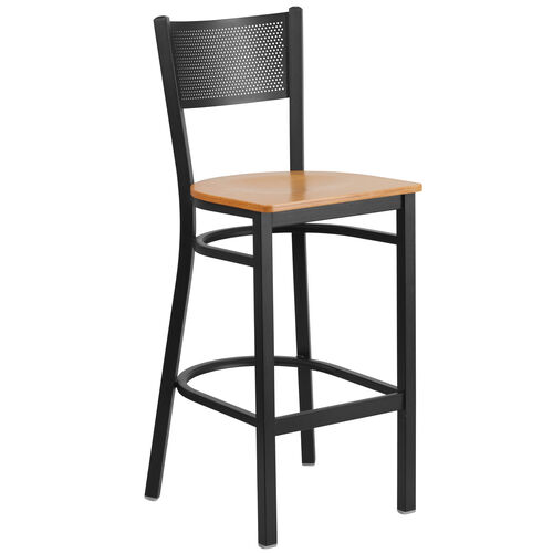 Our Black Grid Back Metal Restaurant Barstool with Natural Wood Seat is on sale now.