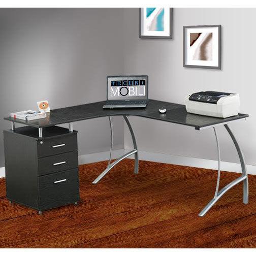 ... Our Techni Mobili L Shape Corner Desk With File Cabinet   Espresso Is  On Sale Now ...