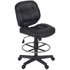 Cirrus Height Adjustable Armless Task Stool with Footrest - Black Vinyl