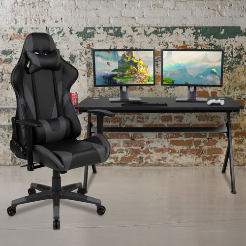BlackArc Black Gaming Desk and Gray/Black Reclining Gaming Chair Set with Cup Holder, Headphone Hook & Removable Mouse Pad Top - Wire Management