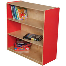 Wooden 3 Fixed Shelf Bookcase with Plywood Back - Strawberry - 36