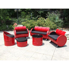 Red Loft Steel Drum 6 Piece Conversation Set with Black Accents