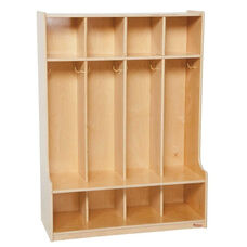 4-Section Seat Locker with Two Coat Hooks in Each Section - Assembled - 36