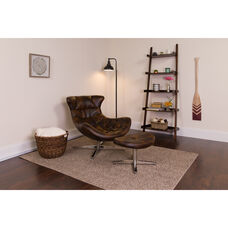 Bomber Jacket LeatherSoft Cocoon Chair with Ottoman