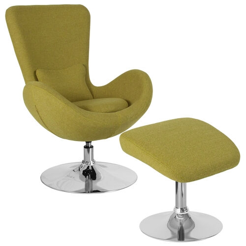 Our Egg Series Green Fabric Side Reception Chair with Ottoman is on sale now.