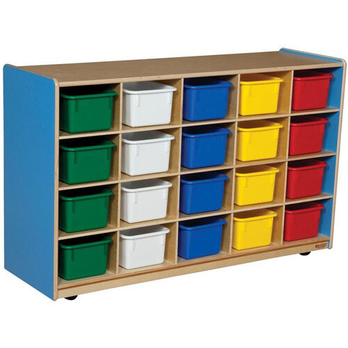 Wooden Mobile Storage Unit with 20 Assorted Plastic Trays - Blueberry - 48