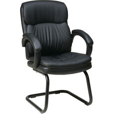 Work Smart Bonded Leather Visitors Chair with Padded Arms and Sled Base - Black