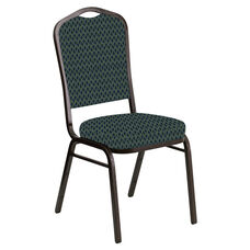 Crown Back Banquet Chair in Rapture Midnight Fabric - Gold Vein Frame