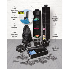 Back To College Multiple Size 30 Piece Organization and Storage Bundle - Black