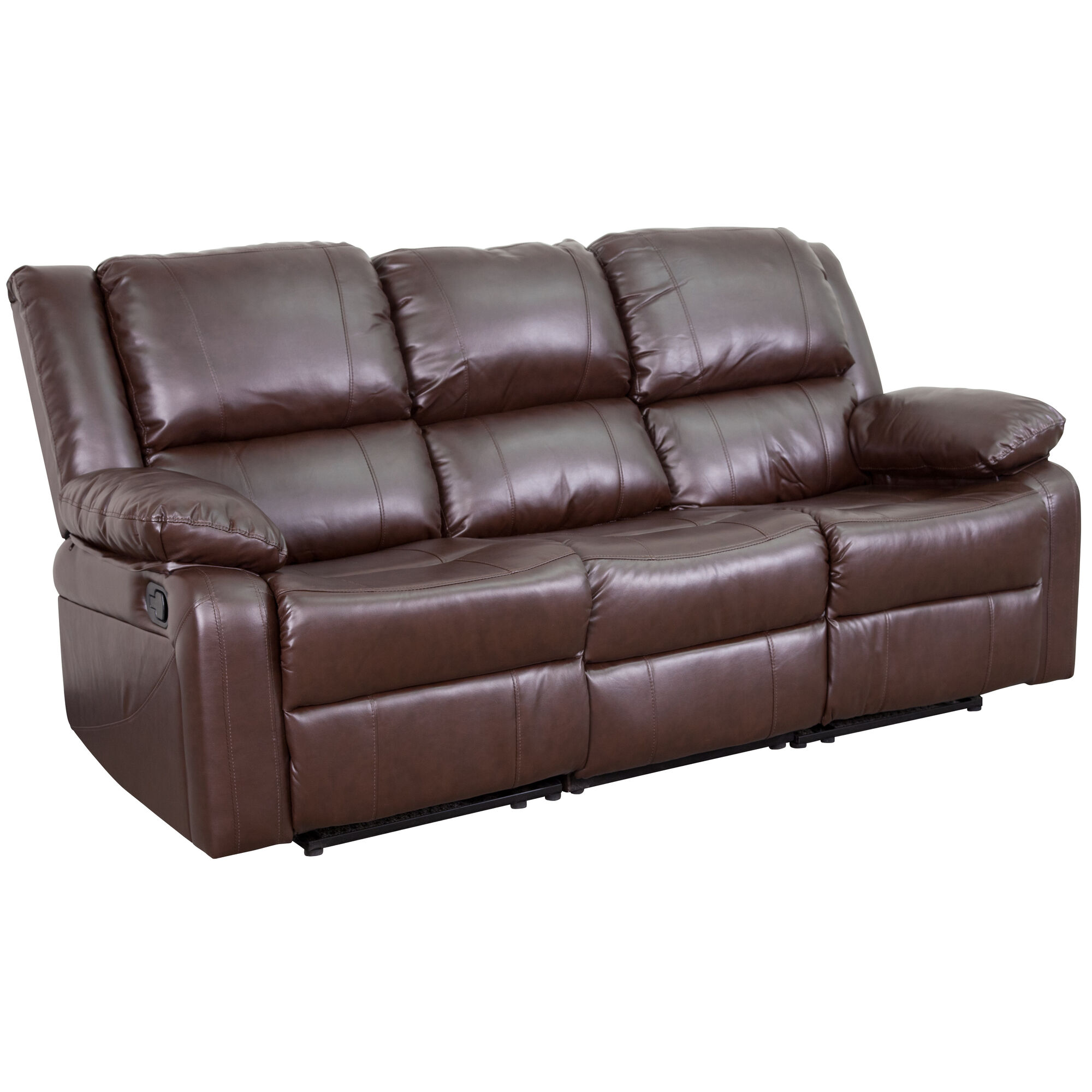 Phenomenal Harmony Series Brown Leather Sofa With Two Built In Recliners Short Links Chair Design For Home Short Linksinfo