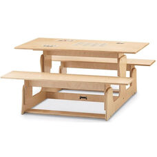 Indoor Height Adjustable Picnic Table and Bench