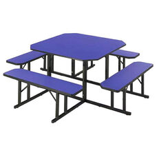 Customizable Square Backless Break Room Table with 4 Built in Benches - 78