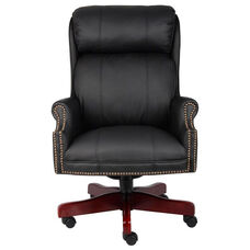 Traditional High Back CaressoftPlus™ Chair with Nail Head Trim - Black