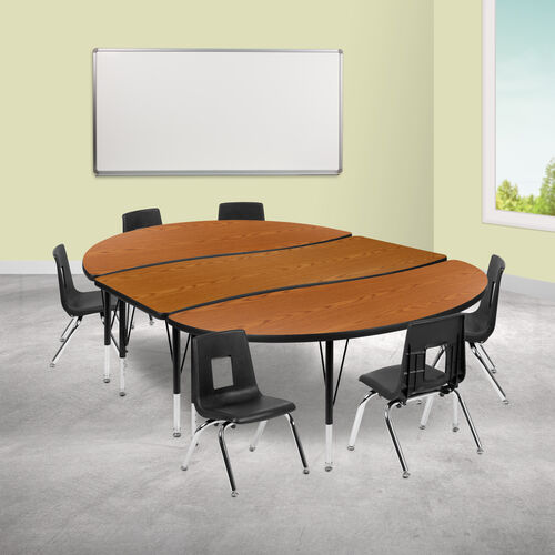"""Our 86"""" Oval Wave Collaborative Laminate Activity Table Set with 12"""" Student Stack Chairs, Oak/Black is on sale now."""