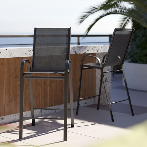 2 Pack Brazos Series Stackable Outdoor Barstools with Flex Comfort Material and Metal Frame