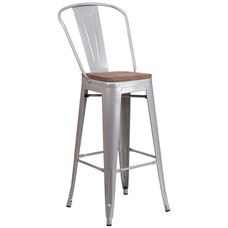 "30"" High Silver Metal Barstool with Back and Wood Seat"