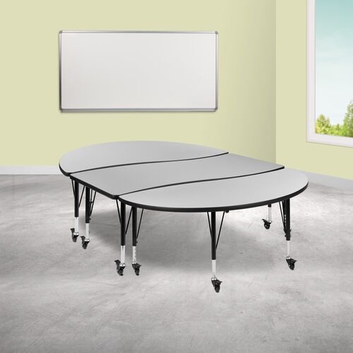 """3 Piece Mobile 86"""" Oval Wave Collaborative Grey Thermal Laminate Activity Table Set - Height Adjustable Short Legs"""