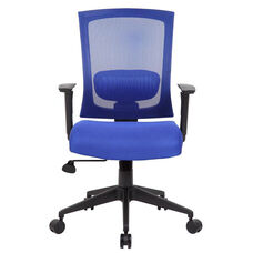 Breathable Mesh Ractchet Back Task Chair With Adjustable Height Armrests - Blue