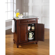 Solid Granite Top Portable Kitchen Island with Cambridge Feet - Vintage Mahogany Finish