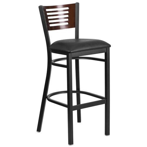 Our Black Decorative Slat Back Metal Restaurant Barstool with Walnut Wood Back & Black Vinyl Seat is on sale now.