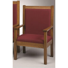 Stained Red Oak Upholstered Side Pulpit Chair