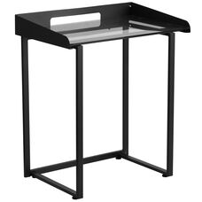 Contemporary Clear Tempered Glass Desk with Raised Cable Management Border and Black Metal Frame