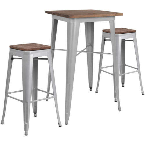 "Our 23.5"" Square Silver Metal Bar Table Set with Wood Top and 2 Backless Stools is on sale now."