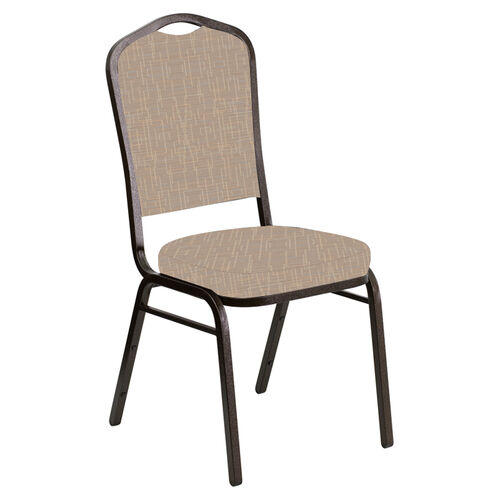 Embroidered Crown Back Banquet Chair in Amaze Fossil Fabric - Gold Vein Frame