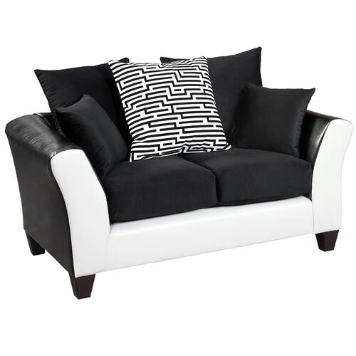 Our Riverstone Implosion Black Velvet Loveseat with Black & White Frame is on sale now.