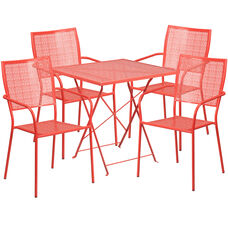 """Commercial Grade 28"""" Square Coral Indoor-Outdoor Steel Folding Patio Table Set with 4 Square Back Chairs"""