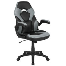High Back Racing Style Ergonomic Gaming Chair with Flip-Up Arms, Gray/Black LeatherSoft