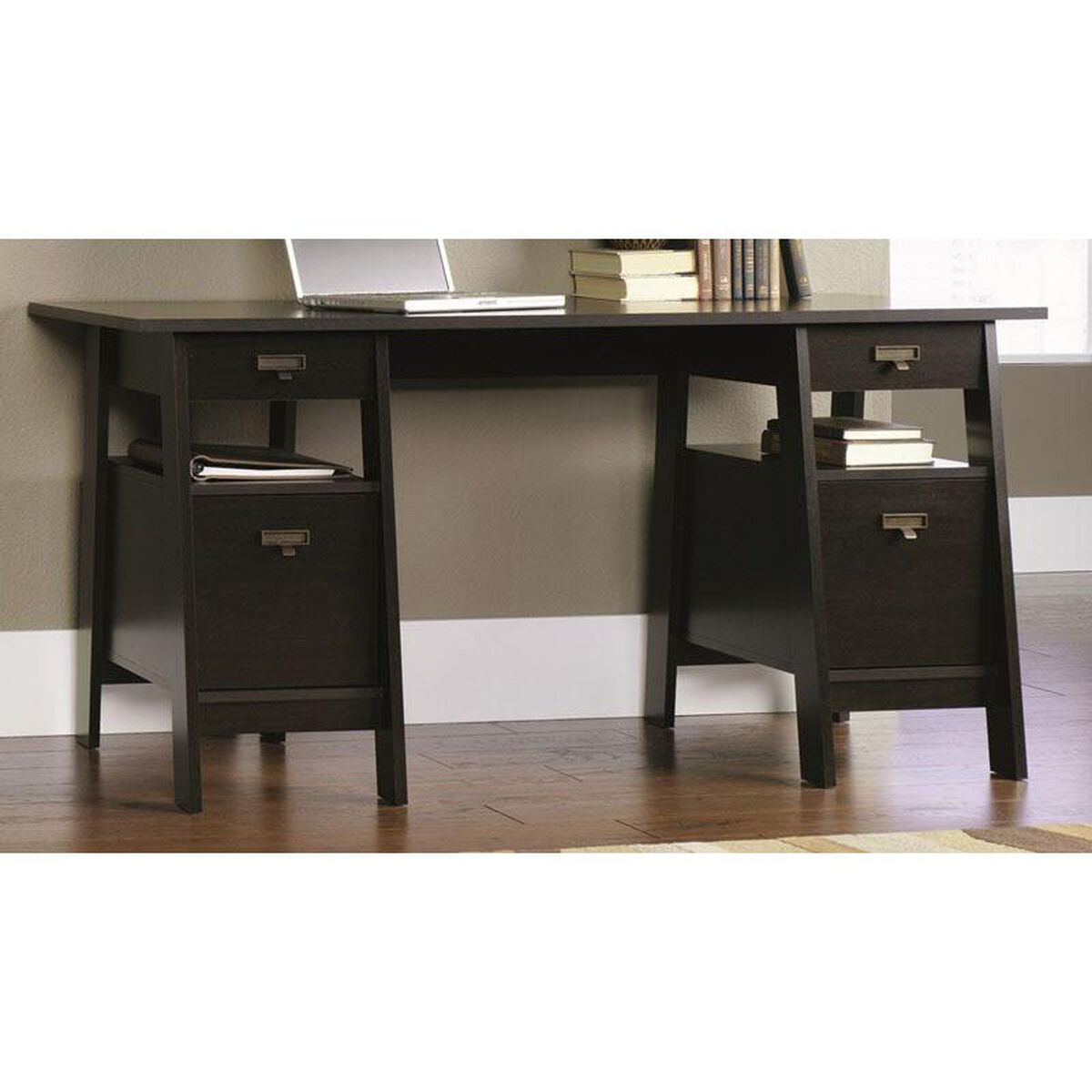 Our Select Collection 59 W Executive Trestle Desk Jamocha Is On Now