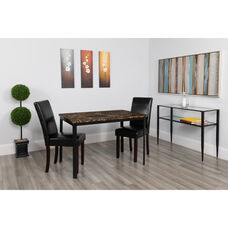 "Avalon 30"" x 45.75"" Rectangular Dining Table in Espresso Marble-Like Finish"