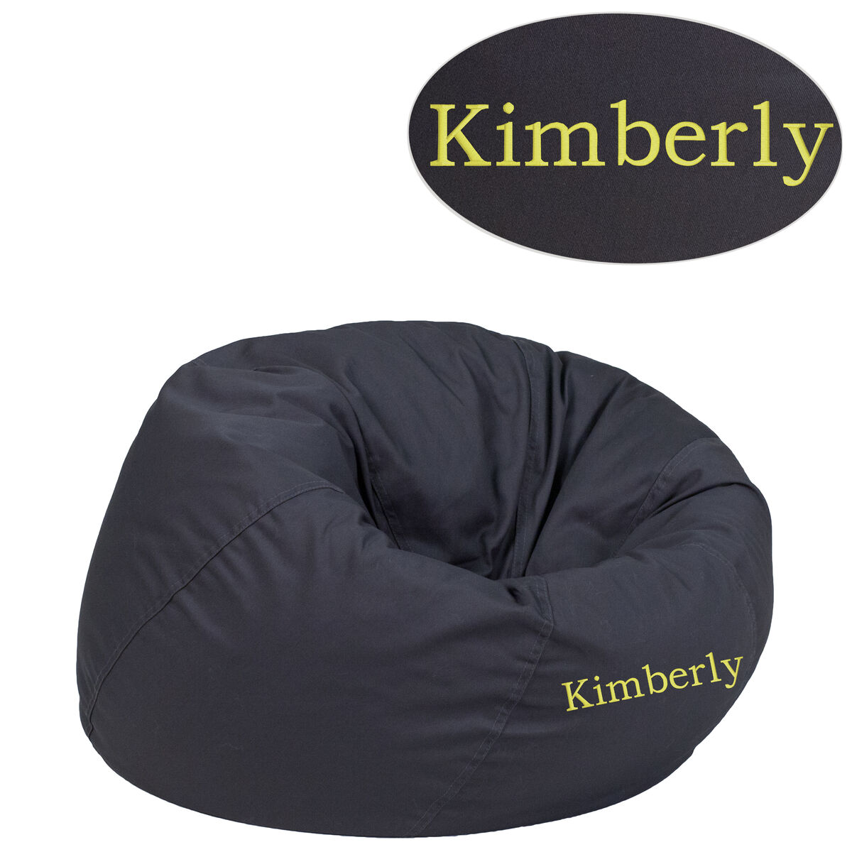 Flash Furniture Personalized Small Solid Gray Kids Bean Bag Chair Dg Gy Emb Gg Bizchair
