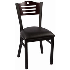 Eagle Series Wood Back Armless Chair with Steel Frame and Vinyl Seat - Mahogany