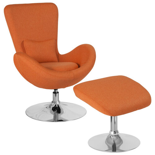 Our Egg Series Orange Fabric Side Reception Chair with Ottoman is on sale now.