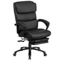 High Back Black Leather Executive Reclining Ergonomic Office Chair with Adjustable Headrest, Coil Seat Springs and Arms