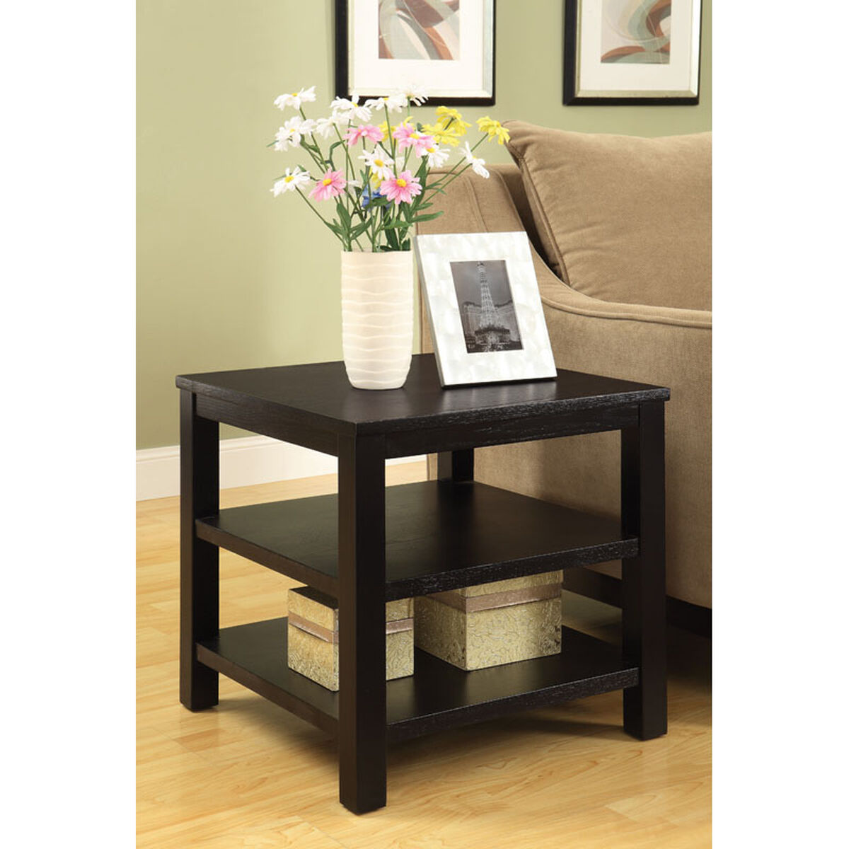 Ave Six Merge 20 Square End Table With Solid Wood Legs